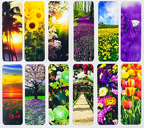 Livin Harmony || Beautiful Flower Bookmarks (12 - Set) || Cute Book Markers for Women, Kids, Mothers Day, Girls, Students || Premium Quality Made in USA