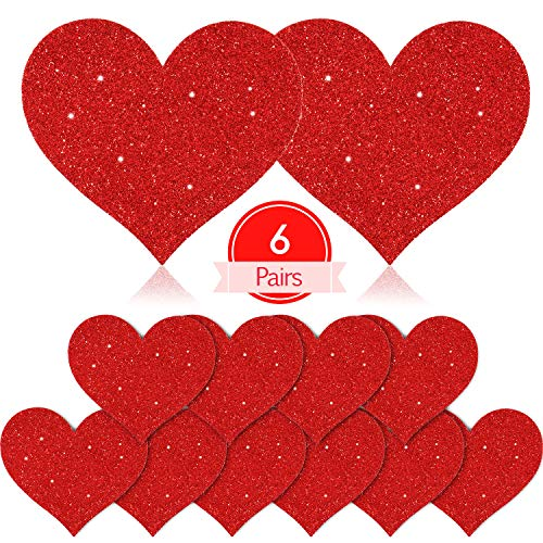 6 Pairs Glitter Nipple Breast Covers Heart Shaped Nipple Stickers Disposable Nipple Pasties (Red)
