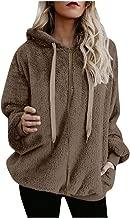 OFEFAN Womens Fuzzy Casual Loose Sweatshirt Hooded with Pockets Outwear S-XXL