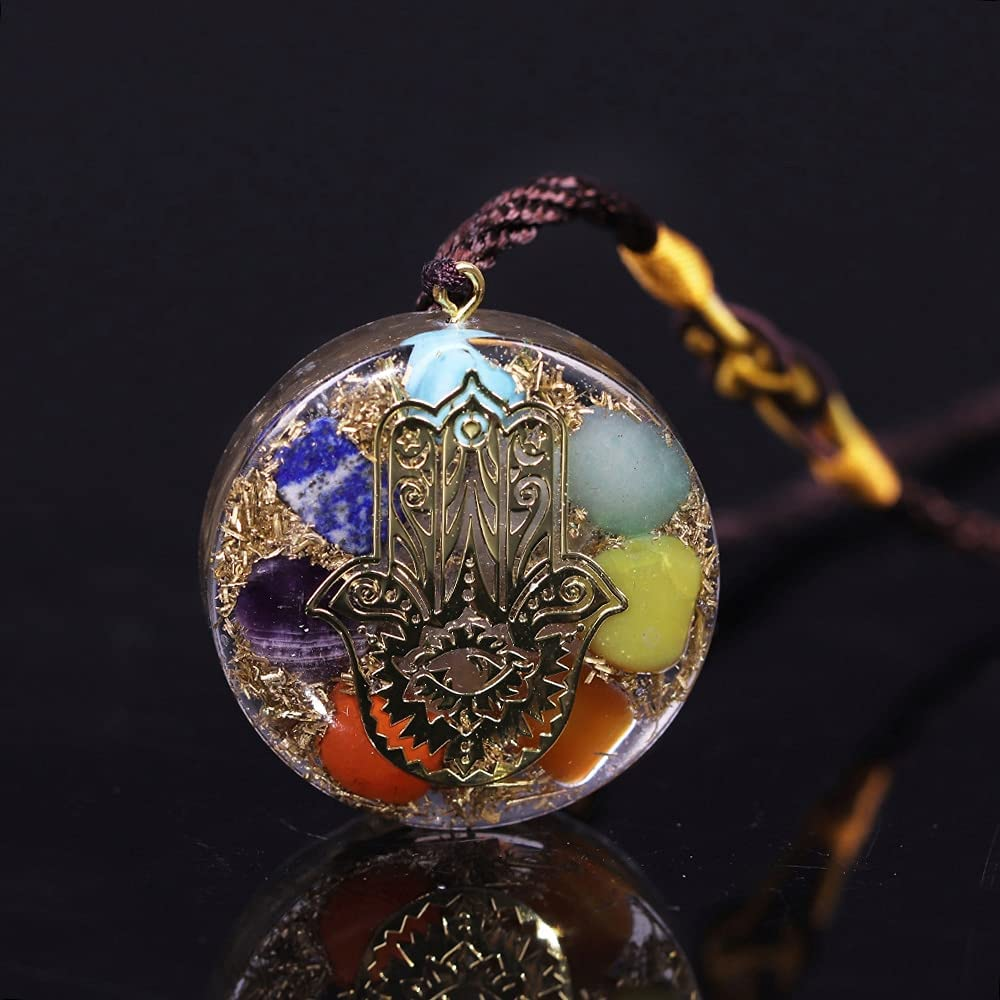 ZILMAKO Orgonite Pendant Factory outlet 7 Reiki Energy Necklace Chakra Free shipping on posting reviews