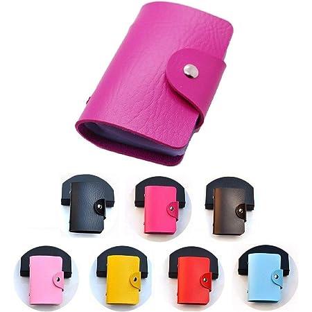 REALMAX Card Holder 24 Slots Black Mens Luxury Soft PU Leather Credit Debit Visiting Wallet Case Purse Pocket Business ID (Hot Pink)