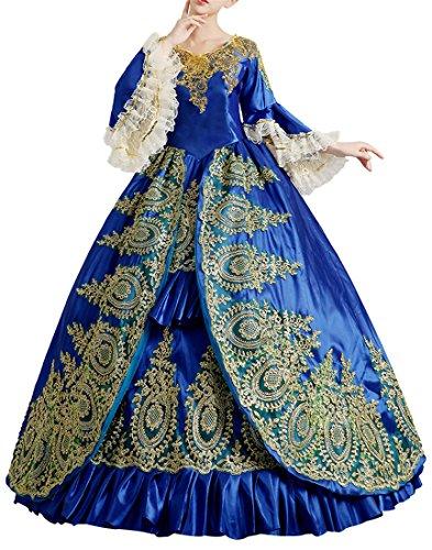 Nuoqi®Damen Satin Gothic Victorian Prinzessin Kleid Halloween Cosplay Kostüm Blau (38, CC2367B)