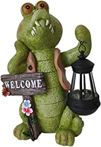 Crocodile Statue Solar Powered, Green Alligator Crocodile Garden Statues, Crocodile Garden Sculpture with Solar Lantern and Welcome Sign, Animals Statue for Deck and Pond