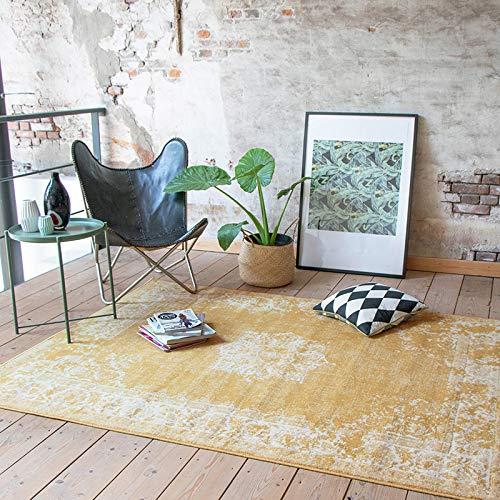 Vintage Teppich - Wonder Gelb, Ockergelb, Orientteppich, super weich, pflegeleicht, hoher qualität, rechteckig, synthetisch, orientalisch, antiallergisch (160x220cm)