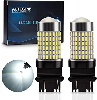 AUTOGINE 1400 Lumens Extremely Bright 144-SMD 3157 3156 3057 3056 4157 LED Bulbs 9-30V with Projector for Backup Reverse Lights, Parking Lights, Tail Brake Lights, Xenon White 6500K (Pack of 2)
