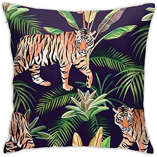 July Levendige tijger in jungle-kussensloop zonder inzetstukken kussensloop voor huisbank slaapkamer huisfeest