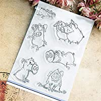 卸売透明クリアスタンプ素敵な豚シリコーンシールローラースタンプDIYスクラップブッキングフォトアルバム/カード作成
