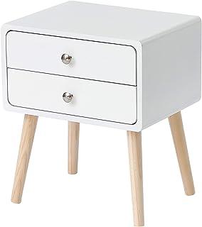 Tavolino Laterale per Divano Poltrona Salotto Camera da Letto in MDF DREAMADE Comodino con Cassetto Bianco
