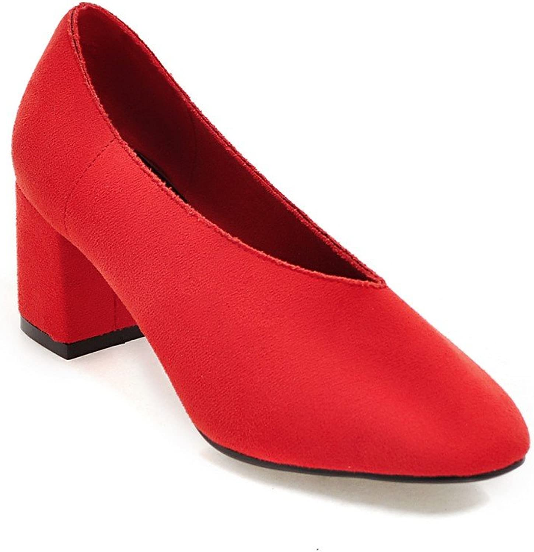 AIWEIYi Ladies Platform Pump shoes Thick High Heels Square Toe shoes Woman Black