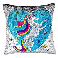 Fun magical unicorn color changing sequin pillow. Magical unicorn glitter pillow with rainbow reverse. 40cm x 40cm x 40cm. Includes the removable and washable sequin pillow case and the interior pillow. Cute sequin throw pillows with soft, plump cush...