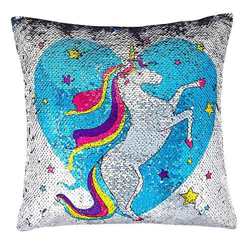 Regalos para Niñas - Cojín Lentejuelas Reversibles Unicornio - Cojín Mágico para Niñas, Ideal Dormitorio Infantil -Regalo Kawaii Cojines Decorativos de Lentejuelas