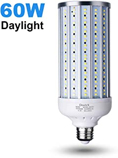 60 Watt LED Corn Light Bulb(500W Equivalent),5500 Lumen 6500K,Cool Daylight White LED Street and Area Light,E26/E27 Medium Base,for Outdoor Indoor Garage Factory Warehouse High Bay Barn and More