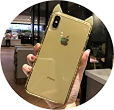 Diamond Around Soft Case for iPhone X XS MAX XR 10 6 6s 7 8 Plus Cute Bling Glitter Cat Ear Clear TPU Silicone Cover Dropproof,Gold,for iPhone 7Plus