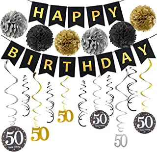 50th Birthday Party Decorations Kit 50 Year Old Party Supplies Include Glitter Happy Birthday Banner Bunting Garland 6pcs Paper Pompoms 12Pcs Hanging Swirls For 50th Anniversary Decorations