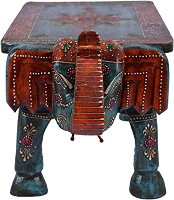 UMHISHOP Traditional Multicolor Elephant Wooden Rectangle Table