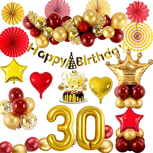30 Decorazioni Di Compleanno per Donne, Arco Di Palloncini In Oro Rosso Metallizzato Con Banner, Palloncini Di Stagnola Di Coriandoli, Decorazioni Per Torte, Ventagli Di Carta, Foglia Di Tartaruga