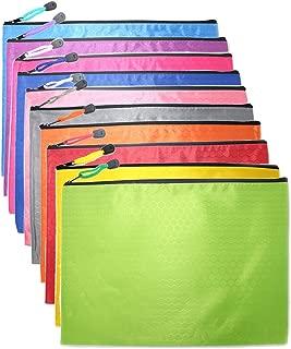 OMIMYY Waterproof Zipper File Bags Fabric Zip File Bags Football Pattern Zip File Documents Storage Bags-Random Color-B4 Size-10 Pcs