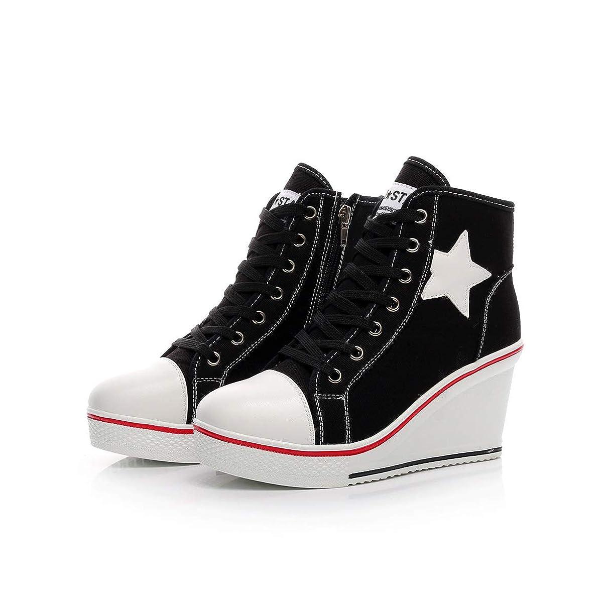 衝突するコンテストみなさん婦人靴ウェッジスニーカーハイヒールキャンバスシューズハイトップサイドジッパーファッションスニーカーをひもで締めます,Black,41