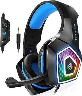 Audífonos Gamer para PS4 Auriculares para juegos con micrófono Luz LED en la oreja Auriculares para juegos PS4, 3,5 mm Auriculares para juegos con cable para PC Mac Laptop Gamer Auriculares V1 (Azul)