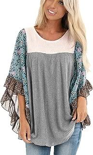 Womens Oversized Crewneck Bell Sleeve Pullover Knit Lightweight Sweaters Asymmetric Hem Fleece Topse