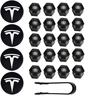 Vonluxsue Tesla Model 3, S & X Aero Wheel Cap Kit (4 Hub Center Cap + 20 Lug Nut Cover) (White)