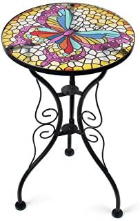 Liffy Butterfly Mosaic Outdoor Side Table Round Printed Glass Desk for Garden, Patio and Lawn - 22 Inches High