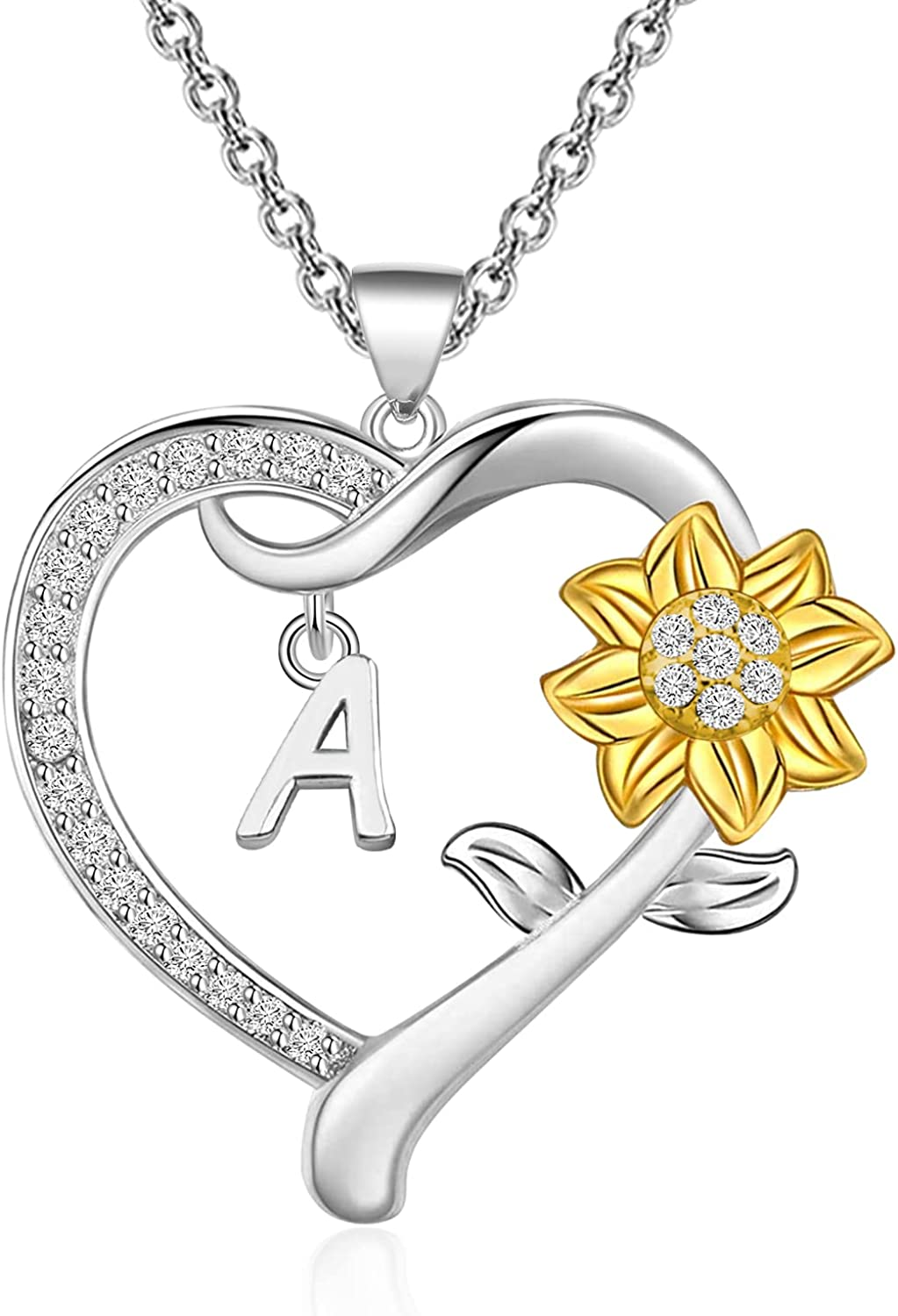 PENQI Sunflower Necklace A-Z 26 Letters Pendant Necklace Sunflower Initial Jewelry Gift for Women Girls