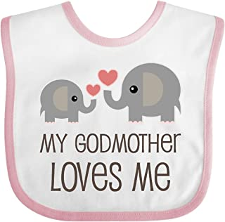 Inktastic My Godmother Loves Me Baby Bib White/Pink