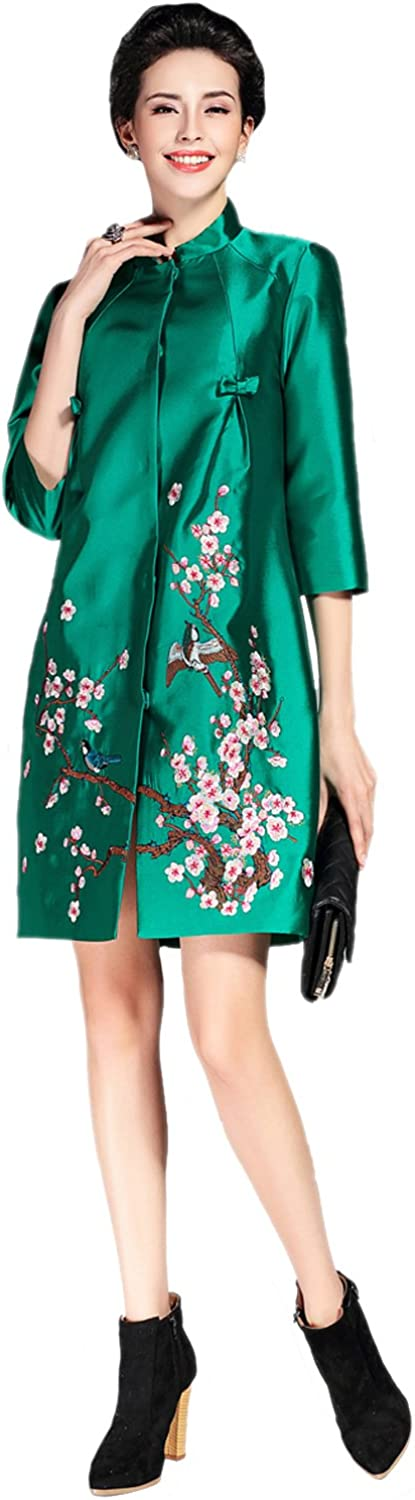 Tortor 1Bacha Women Ladies Plum Blossom Floral Embroidered Trench Coat Jacket