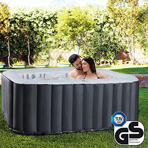 Miweba MSpa aufblasbarer Whirlpool Outdoor - 6 Personen – 132 Düsen - 185x185 cm – Tüv GS geprüft - Alpine D-AL06 – 930 Liter