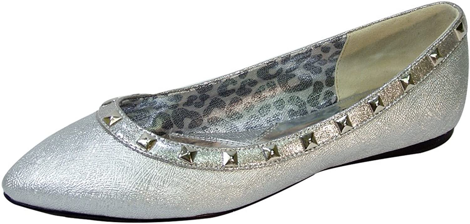 Fuzzy Emily Women Wide Width Pointed Toe Square Studded Top Liner Slip-On Flats (Size & Measurement)