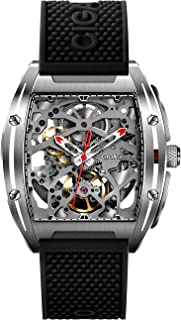 CIGA Design Watch Automatic Mechanical Wristwatch Tonneau Synthetic Sapphire Crystal Stainless Steel Case Silicone Strap U...