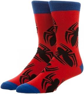 Bioworld Marvel Spiderman Large All over Print Crew Socks, Red, Sock: 10-13 Shoe: 8-12