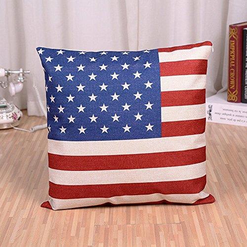 Cuscino decorativo fodera per cuscino Inghilterra America Bandiera Lino federa decorativa per auto, divano, Home Decor 45x 45cm (senza imbottitura) Style B
