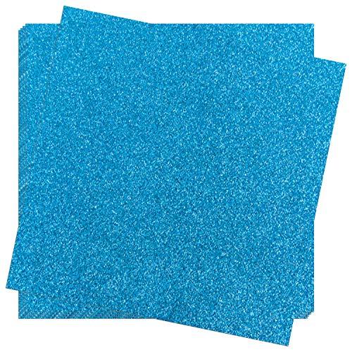 Crafasso 12 x 12 300gms Heavy & Premium Glitter cardstock, 15 Sheets, Blue