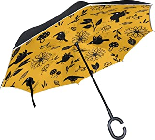 Inverted Travel Umbrella Bird Crow Raven Reverse Windproof UV Protection Umbrellas with C Shaped Handle for Car Golf Outdoor