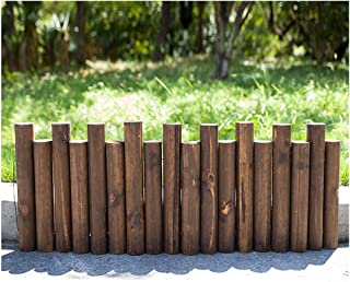 ZHANWEI Garden Fence Picket Fencing Decorative Landscape Edging Decor Outdoor Flower Bed Solid Wood Round Stakes, 8 Sizes ...