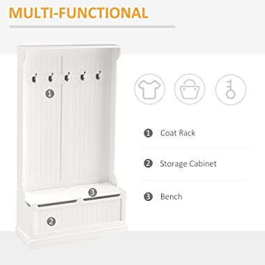 """HOMCOM 71"""" Hall Tree Storage Bench and Coat Rack with 5 Steel Double Hooks, and Anti-Topple Anchor, White"""