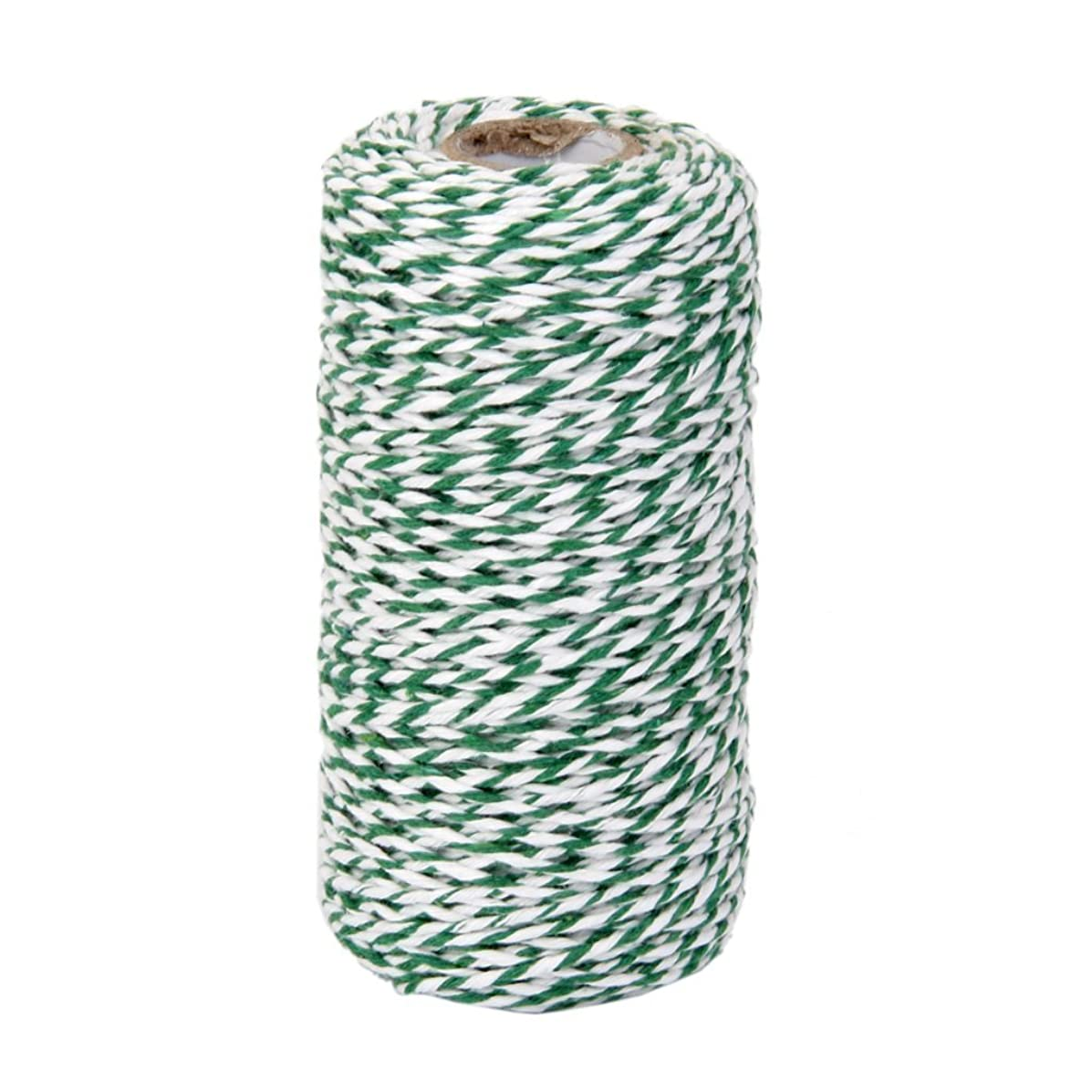 OxoxO 100YD White + Green Wrap Gift Cotton Rope Ribbon Twine Rope Bottle Gift Box Line Design 2MM