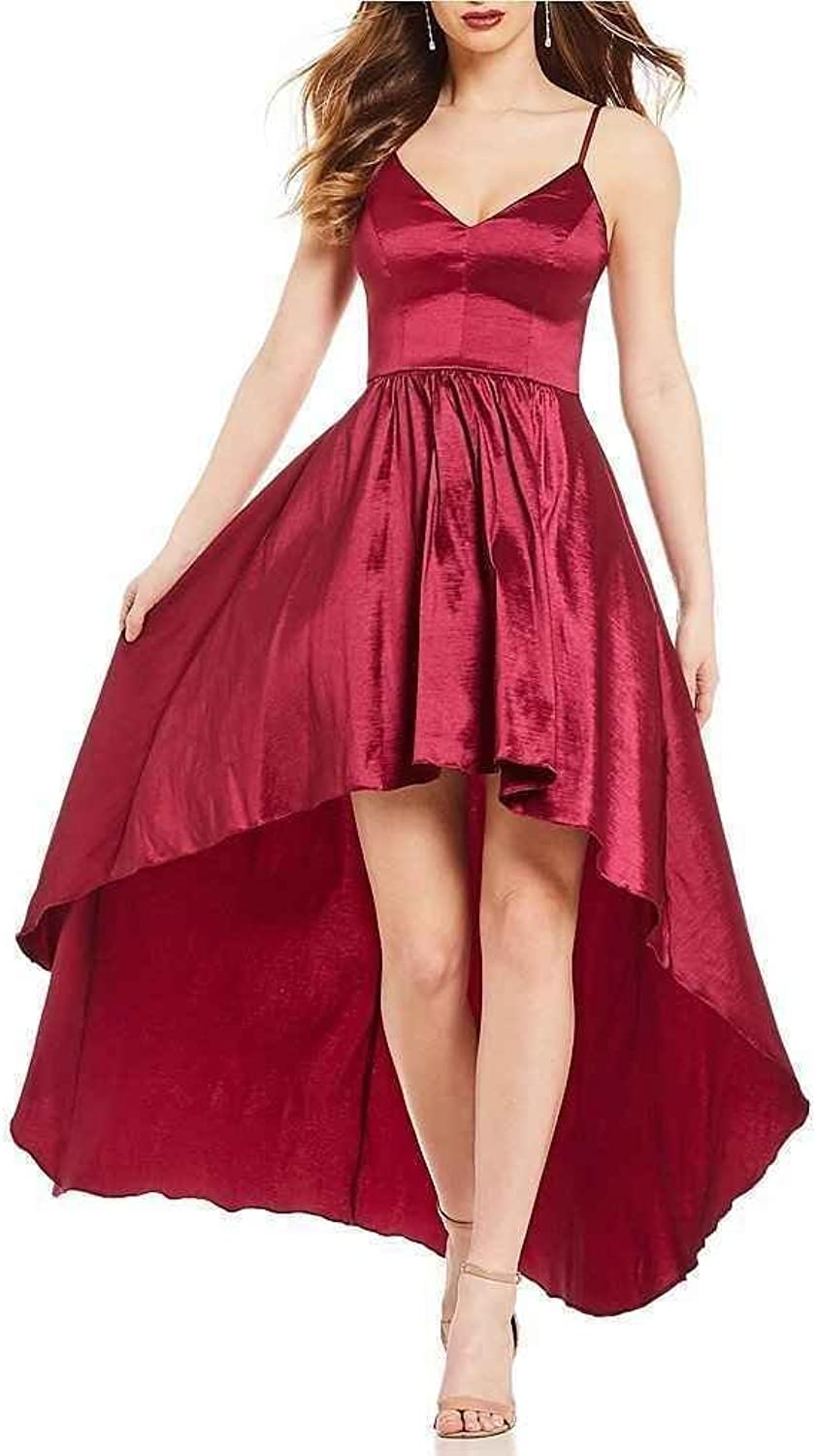 Homecoming Dress Spaghetti Strap High Low V Neck Sexy Women Formal Evening Cocktail Gown