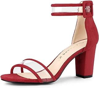 Allegra K Women's Clear Open Toe Ankle Strap Chunky Heel Sandals
