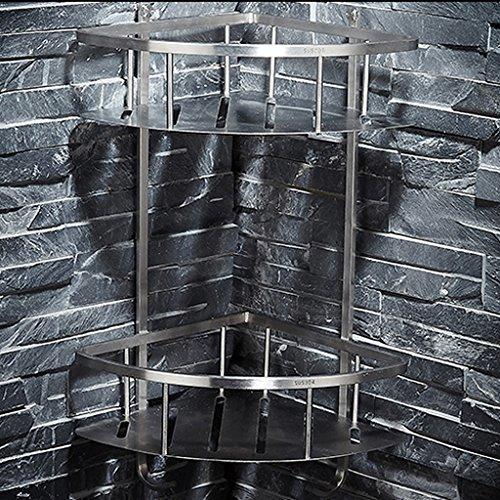ZHEN GUO Organisateur d'étagère de coin de salle de bains et panier de rangement mural économiseur d'espace de douche en acier inoxydable brossé (style : 1 tier)