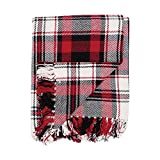 C&F Home Fireside Woven Throw Red and Black Christmas Xmas Holiday Winter Lodge Cabin Plaid Blanket with Fringe Cotton Soft Cozy for Couch Sofa 50x60 inches Red