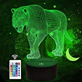 Lion Gifts, Big Cat 3D Night Light for Kids Bedside Lamp with Remote Control 16 Color Changing Xmas Halloween Birthday Gift Cool Room Decor for Child Baby Boy