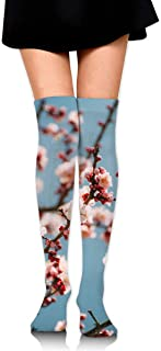Women Crew Socks Thigh High Knee Blooming Peach Tree Long Tube Dress Legging Athletic Compression Stocking