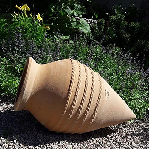 Kreta-Keramik große frostfeste Spitzamphore aus echtem Terracotta | 70 cm | Pflanzamphore liegend oder stehend | für den Garten Teich Terrasse, Vitex
