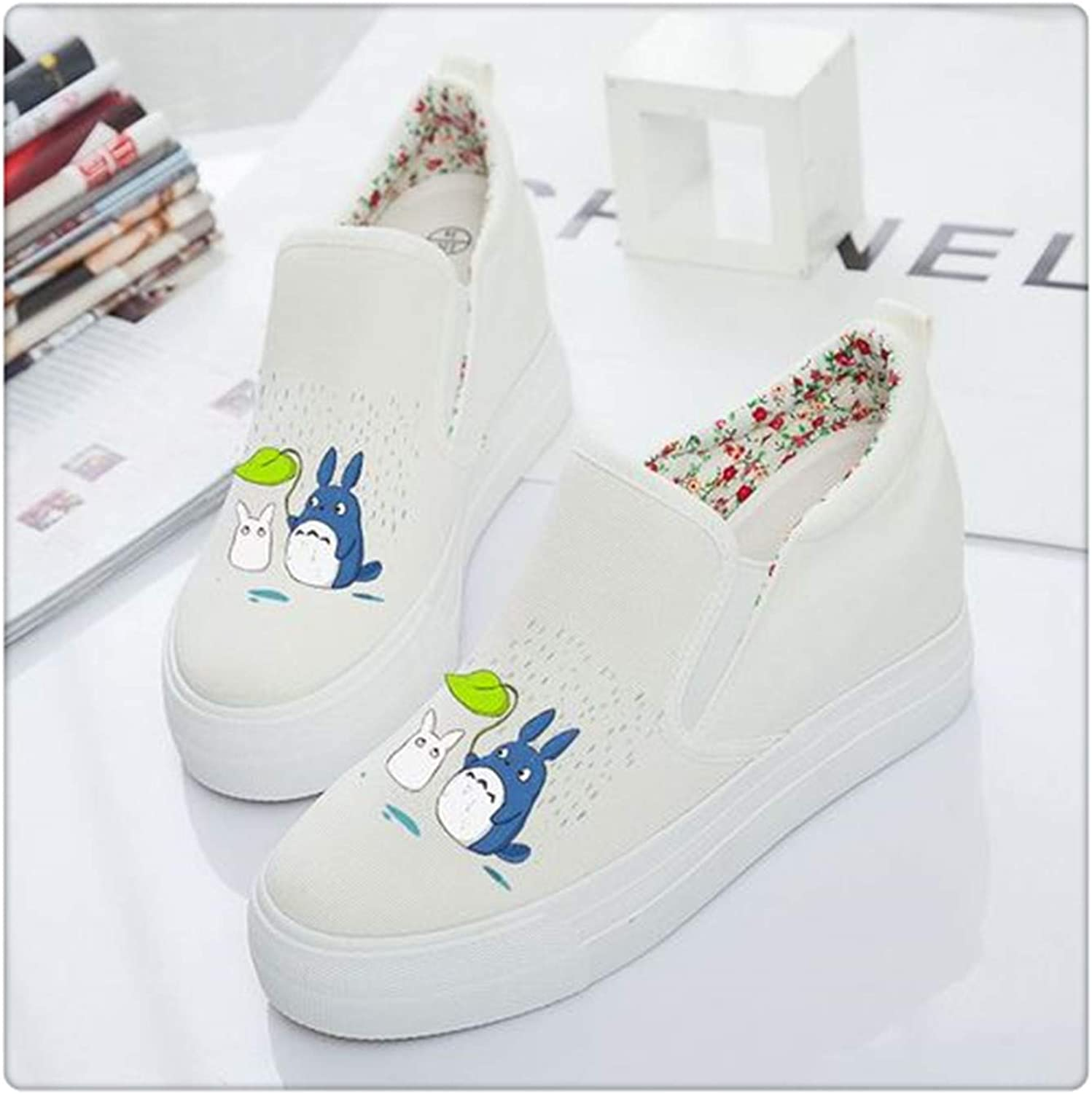 Sweet Women's shoes Platform 2019 Autumn Slip on Canvas shoes Women Loafers Casual Espadrilles White Black Creepers White cat Rainy 4