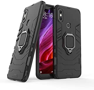 Xiaomi MI Max 3 Iron Man 2018 Protection Cover Case With Metal Ring & Magnetic Car holder, Black