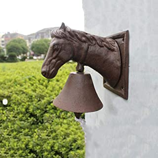 Antique cast Iron Horse Bell Bell French Wrought Iron Wall Decoration Cafe Decoration Garden Pendant 16x10.5x19cm Cast Iro...
