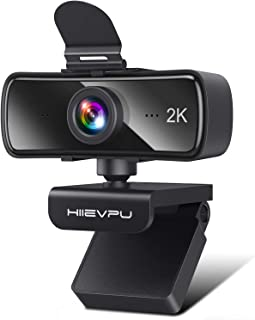 2K Webcam with Microphone for PC & Laptop, Hiievpu USB Webcam with Privacy Cover, Plug and Play, Suitable for Streaming/Ga...